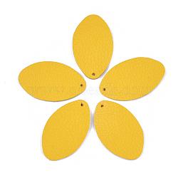 pendentifs environnementaux de peau de vache, ovale, or, 44.5x27x1.5 mm, trou: 1.5 mm(FIND-T045-26C-07)