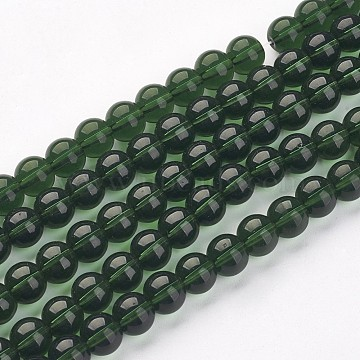 Round Transparent  Glass Beads Strands, Green, about 8mm in diameter, hole: 1mm; about 42pcs/strand, 14 inches(X-GR8mm18Y)
