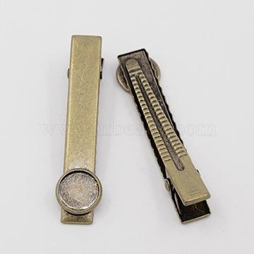 Antique Bronze Brass Alligator Hair Clip Settings, 60x10mm, Tray: 12mm(X-PHAR-E015-AB-NF)