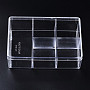 Polystyrene Bead Storage Containers, with 5 Compartments Organizer Boxes and Hinged Lid, for Jewelry Beads Earring Container Tool Fishing Hook Small Accessories, Rectangle, Clear, 15x10x4.7cm, compartment: 4.7x4.7cm and 9.5x4.7cm.