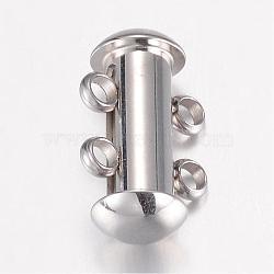 304 inoxydable fermoirs de verrouillage à glissière en acier, 2 brins, 4 trous, Tube, couleur inoxydable, 15x10x6.5mm, Trou: 1.8mm(STAS-G071-51P)