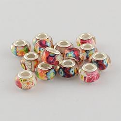 Perles Européennes en acrylique avec grand trou, laiton avec ton argent noyaux doubles, rondelle, palevioletred, 14x9mm, Trou: 5mm(X-OPDL-R114-19B)