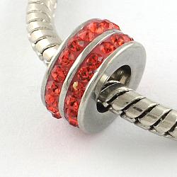 Chapelets de perle avec grand trou de colonne en 316 acier inoxydable, avec argile polymère strass, jacinthe, 10x5mm, Trou: 5mm(STAS-R082-AA104-4)