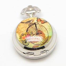 Ouvrables plats ronds alliage vélo porcelaine imprimé têtes de montres à quartz pour des colliers de montres de poche faisant, platine, 40x29.5x15mm(WACH-M111-07)