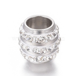 Perles en 304 acier inoxydable, avec argile polymère strass, Perles avec un grand trou   , colonne, couleur inoxydable, cristal, 11x10mm, Trou: 6.5mm(STAS-E477-10A-P)