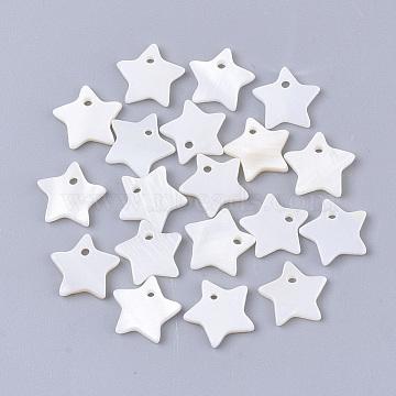 Freshwater Shell Pendants, Star, Seashell Color, 10x10.5x2mm, Hole: 1.2mm(X-SHEL-S276-60A)