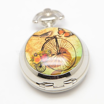 Openable Flat Round Alloy Bike Printed Porcelain Quartz Watch Heads for Pocket Watch Necklaces Making, Platinum, 40x29.5x15mm(WACH-M111-07)