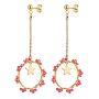 Red Glass Stud Earrings(EJEW-JE04057-05)
