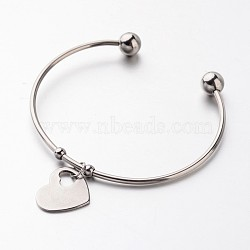 304 Stainless Steel Cuff Bangles, Heart Charm Bangles, Stainless Steel Color, 2-3/8 inches(6.1cm)(X-BJEW-JB02389-04)