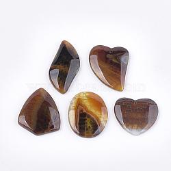 pendentifs d'agate de feu naturel, teints, forme mixte, 36~52x24~38x6~7.5 mm, trou: 1.2 mm(G-T125-14)