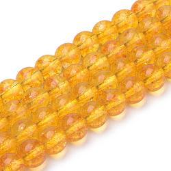 Синтетические цитрин бусы пряди, круглые, окрашенные, 6x6 мм, Отверстие : 1 мм; около 62 шт / нитка, 15.5''(G-S150-14-6mm)