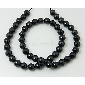 Natural Tourmaline Bead Strands, Round, Black, 4mm, Hole: 0.8mm; about 95pcs/strand, 15.5inches(39.3cm)(G-H1603-4mm)
