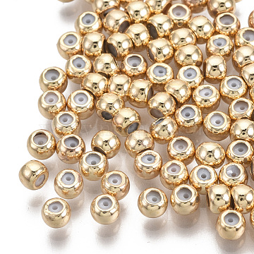 Brass Beads, with Rubber Inside, Slider Beads, Stopper Beads, Nickel Free, Round, Real 18K Gold Plated, 3x2.5mm, Hole: 1.5mm, Rubber Hole: 0.5mm(X-KK-T063-004A-NF)