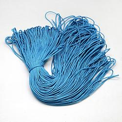 Polyester & Spandex Cord Ropes, 16-Ply, DodgerBlue, 2mm; about 100m/bundle(RCP-R007-349)