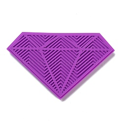 Silicone Makeup Cleaning Brush Scrubber Mat Portable Washing Tool, with Suction Cup, Diamond Shape, for Men and Women, Dark Orchid, 9.5x15.1x1.1cm(MRMJ-H002-05)