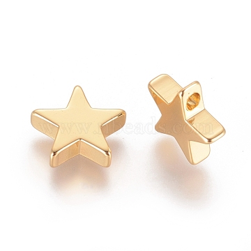 Brass Charms, Long-Lasting Plated, Star, Real 18K Gold Plated, 11.5x12x2.5mm, Hole: 1.2mm(X-KK-F783-06G)