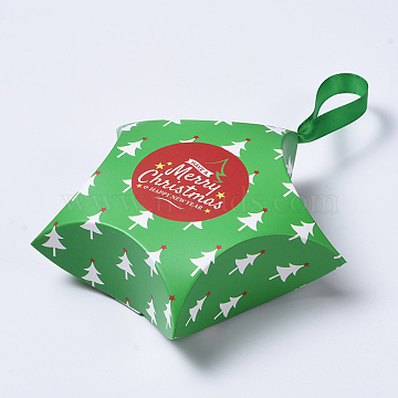 Star Shape Christmas Gift Boxes, with Ribbon, Gift Wrapping Bags, for Presents Candies Cookies, Green, 12x12x4.05cm(X-CON-L024-F06)