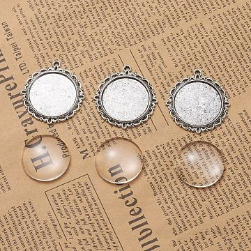 DIY Pendant Making, Tibetan Style Alloy Pendant Cabochon Settings and Transparent Glass Cabochons, Flat Round, Antique Silver, Tray: 25mm; 37x34x2mm, Hole: 2mm, 24.5~25x6~7mm, 2pcs/set(DIY-X0098-52AS)