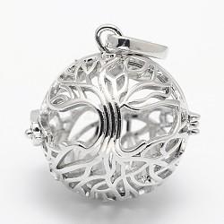 Pendentifs de cage en laiton, pour faire des colliers à pendentif carillon, rond et creux, sans nickel, platine, 28x28.5x24mm, trou: 9x3.5 mm; intérieure: 20.5 mm(X-KK-M181-02P-NF)