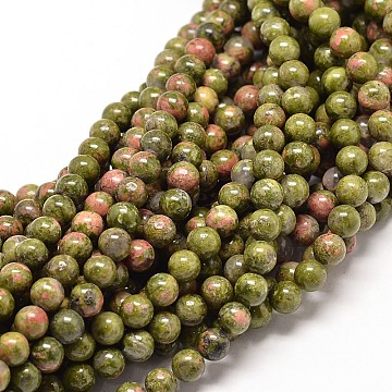 Natural Unakite Round Bead Strands, 4mm, Hole: 1mm, about 86pcs/strand, 14.7 inches(X-G-P072-30-4mm)