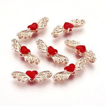 Rose Gold Red Heart Alloy+Enamel Beads