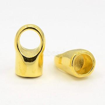Brass Cord Ends, Cadmium Free & Lead Free, Golden, 12x19mm, Hole: 8mm(KK-19X12-G)