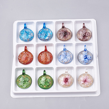 Handmade Gold Sand Lampwork Pendants, Inner Flower, Flat Round, Mixed Color, 45~47x35~36x15~16mm, Hole: 8mm; Box Size: 20x19.5x1.3cm; about 12pcs/box(LAMP-S189-07-B)