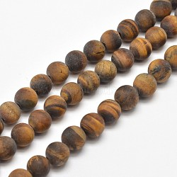 "Chapelets de perles rondes en œil de tigre mat naturel, 8mm, trou: 1mm; environ 48 pcs/chapelet, 15.5""(G-E262-02-8mm)"