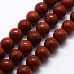 """Chapelets de perles en jaspe rouge naturel, rond, 6mm, trou: 0.8mm; environ 63 pcs/chapelet, 14.76"""" (37.5 cm)(G-I199-25-6mm)"""