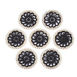 décorations en polyester, avec les résultats de strass et de laiton, plat rond, or et de lumière, noir, 32x2 mm(FIND-T044-11A)