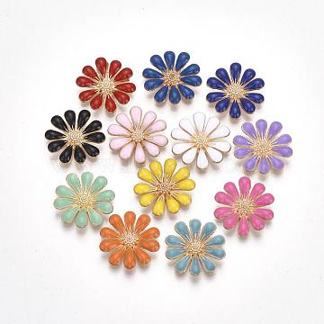 Alloy Enamel Cabochons, Flower, Golden, Mixed Color, 18x3.5mm(X-PALLOY-T066-10)