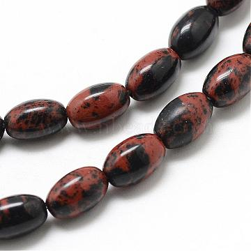 Natural Mahogany Obsidian Beads Strands, Oval, 9x6mm, Hole: 1mm; about 44pcs/strand, 15.55 inches(G-T031-6x9mm-14)