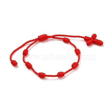 Adjustable Nylon Threads Braided Bracelets, Red String Bracelets, Cross, Red, Inner Diameter: 1-3/4~3-3/8 inches(4.5~8.5cm)(BJEW-JB05582-03)