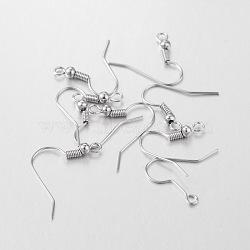 Crochets de boucles d'oreilles en fer, couleur platine, taille: environ 18 mm de long,  largeur de 18 mm, épaisseur de 0.8mm, Trou: 2mm(X-E135)