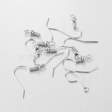 Iron Earring Hooks, Platinum Color, Size: about 18mm long, 18mm wide, 0.8mm thick, hole: 2mm(X-E135)