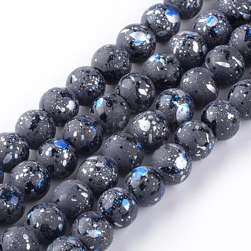 8mm Silver Round Glass Beads