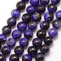 Natural Fire Agate Bead Strands, Round, Grade A, Faceted, Dyed & Heated, Indigo, 12mm, Hole: 1mm; about 32pcs/strand, 15inches