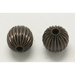 Brass Corrugated Beads, Round, Red Copper Color, about 10mm in diameter, hole: 2mm(X-EC032-R)
