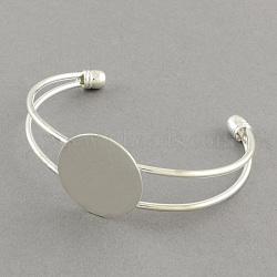 Латунные манжеты браслет материалы, браслет заготовки, серебряные, 63 мм; плоские круглые: 25 мм(MAK-S001-SZ018S-25)