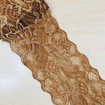 Elastic Lace Trim, Lace Ribbon For Sewing Decoration, Camel, 80mm(OCOR-WH0024-A02)