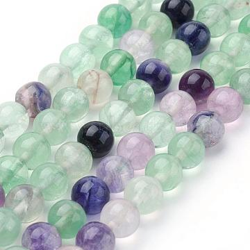 Natural Fluorite Beads Strands, Round, 8~8.5mm, Hole: 1mm, about 48pcs/strand, 15.1 inches(38.5cm)(G-P318-05-8mm)
