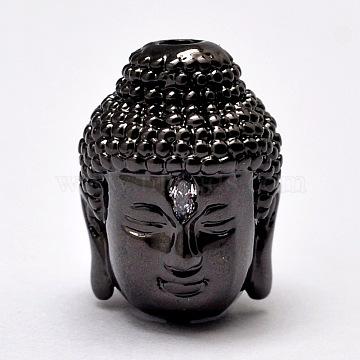 Brass Beads, Micro Pave Grade AAA Cubic Zirconia, Buddha Head, Cadmium Free & Nickel Free & Lead Free, Gunmetal, 14x10x11mm, Hole: 2mm(X-KK-G268-02-NR)