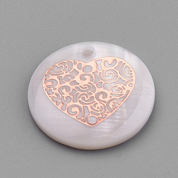 Rose Gold Seashell Flat Round Freshwater Shell Pendants