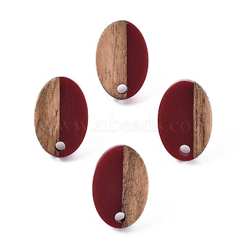 Opaque Resin & Walnut Wood Stud Earring Findings, with 304 Stainless Steel Pin, Oval, Dark Red, 15x10mm, Hole: 1.8mm, Pin: 0.7mm(MAK-N032-004A-B02)