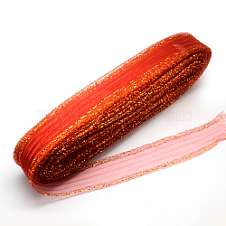 Mesh Ribbon, Plastic Net Thread Cord, with Golden Metallic Cord, Red, 4.5cm; about 25yards/bundle(PNT-R010-4.5cm-G06)