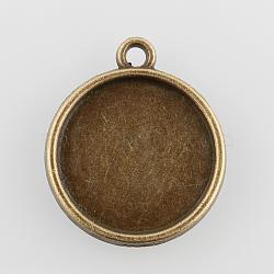 paramètres plats cabochon Pendentif en alliage rondes, cuvettes à bord droit, sans nickel, bronze antique, plateau: 16 mm; 22x19x2 mm, trou: 1.5 mm(X-PALLOY-N0088-35AB-NF)