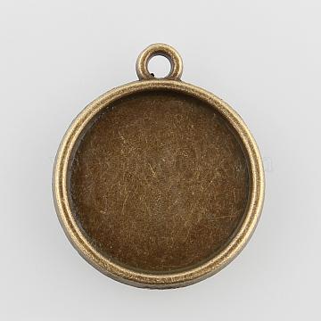 Flat Round Alloy Pendant Cabochon Settings, Plain Edge Bezel Cups, Cadmium Free & Nickel Free & Lead Free, Antique Bronze, Tray: 16mm, 22x19x2mm, Hole: 1.5mm(X-PALLOY-N0088-35AB-NF)