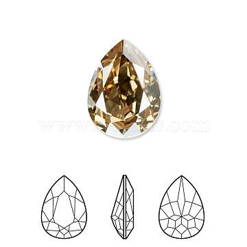 Austrian Crystal Rhinestone, 4320, Crystal Passions, Foil Back,  Faceted Pear Fancy Stone, 001GSHA_Crystal Golden Shadow, 18x13x5mm(4320-18x13-001GSHA(F))