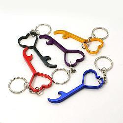 Openners de bouteilles en alliage d'aluminium, avec des anneaux de fer, clé, platine, couleur mixte, 123mm(AJEW-G001-04)