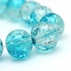 """Cuisson peints en verre craquelé brins de perles, rond, darkturquoise, 4mm, trou: 1.1~1.3mm; environ 200 pcs/chapelet, 31.4""""(X-CCG-S001-4mm-06)"""